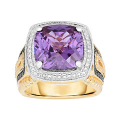 Lab-Created Alexandrite and Color-Enhanced Black Diamond Ring