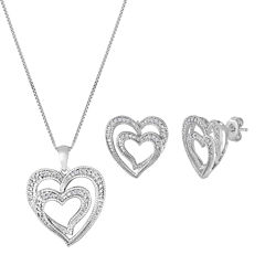 ForeverMine® 1/10 CT. T.W. Diamond Heart Necklace & Earring Set