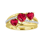 Lab-Created Ruby & White Sapphire 14K Gold Over Sterling Silver Triple Heart Ring