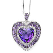 Lab-Created Amethyst and White Sapphire Sterling Silver Heart Pendant Necklace