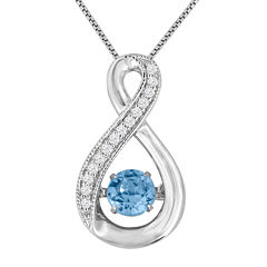 Love In Motion™ Genuine Blue Topaz and Lab-Created White Sapphire Pendant Necklace