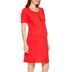 Maternity Short-Sleeve Keyhole Back Dress - Plus