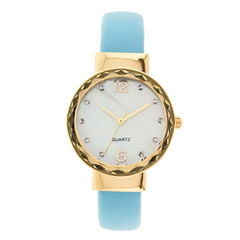 Womens Crystal-Accent Mother-of-Pearl Bangle Watch