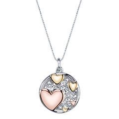 Inspired Moments Tri-Tone Sterling Silver Crystal Inspirational Hearts Pendant Necklace