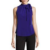 Liz Claiborne® Sleeveless Tie-Neck Print Top