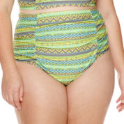 Breaking Waves Chevy Tribal-Stripe Shirred High-Waist Swim Bottoms - Juniors Plus