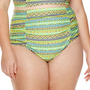 Breaking Waves Chevy Tribal-Stripe Shirred High-Waist Swim Bottoms - Juniors Plus