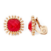 Monet® Gold-Tone Red Cushion Clip-On Earrings