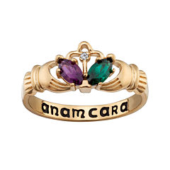 Personalized Claddagh Birthstone Engraved Ring