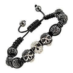 Mens Crystal Skulls & Beads Hematite Bracelet