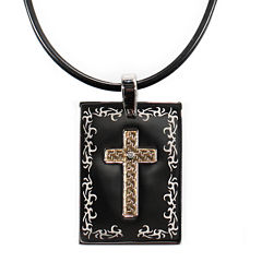 Mens Stainless Steel & 18K Gold Diamond-Accent Cross Dog Tag Pendant Necklace