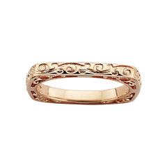 Personally Stackable Square Patterned Ring 18K Rose Gold Over Sterling Silver