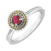 Personally Stackable Two-Tone Lab-Created Ruby Ring