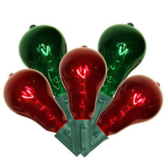 Set of 10 Transparent Red & Green Ps50 Edison Style Christmas Lights with Green Wire