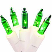 Set Of 50 Green Mini Christmas Lights With White Wire