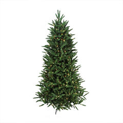 6.5' Pre-Lit PE/PVC Mixed Pine Multi-Function Artificial Christmas Tree w/ Remote Control with Clear/Multi Lights