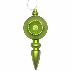 4Ct Matte Green Kiwi Retro Reflector ShatterproofChristmas Finial Ornaments