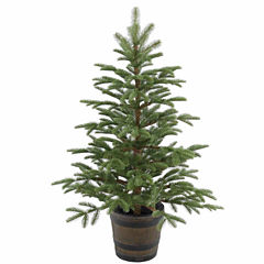 National Tree Co. 4 Foot Norwedgian Spruce Entrance Whiskey Barrel Christmas Tree