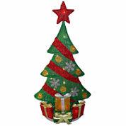 National Tree Co. Green Tinsel 2-D Pre-Lit Christmas Tree