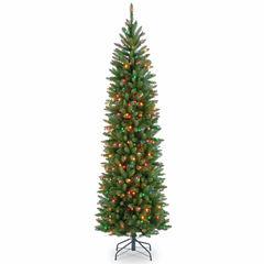 National Tree Co. 6 1/2 Foot Kingswood Fir Hinged Pencil Pre-Lit Christmas Tree
