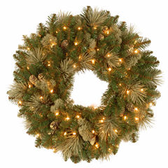 National Tree Co. Flocked Pine Cones And Carolina Pine Indoor/Outdoor Christmas Wreath
