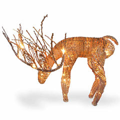 National Tree Co. Rattan Deer Animal Figurines