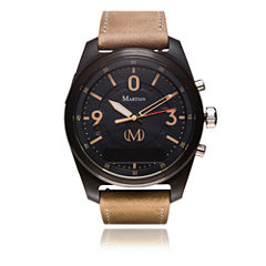 Martian Mens mVoice PT 01 Light Brown Leather Band Black Dial Smart Watch-Mvr03pt011