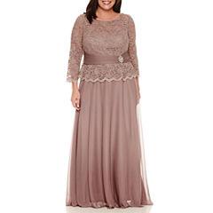 Jackie Jon Long Sleeve Evening Gown-Plus