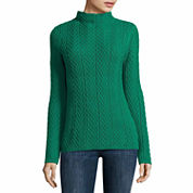 Liz Claiborne Long Sleeve Mock Neck Pullover Sweater-Talls