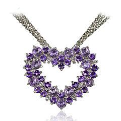 Fine Jewelery Womens 18 Inch Purple Amethyst Sterling Silver Link Necklace