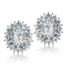 Marquise Blue Topaz Sterling Silver Stud Earrings