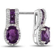 Genuine Amethyst & Lab-Created White Sapphire Sterling Silver Drop Earrings