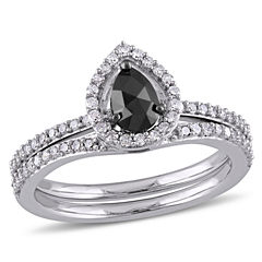 Midnight Black Womens 3/4 CT. T.W. Black Diamond 10K Gold Bridal Set