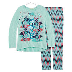 Self Esteem Legging Set with Long Sleeve Crochet Graphic Top and Necklace - Girls 7-16 and Plus