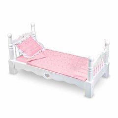 Melissa & Doug White Wooden Doll Bed With Bedding