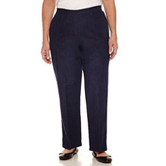 Alfred Dunner Woven Flat Front Solid Pant Medium