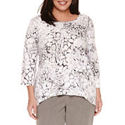 Alfred Dunner 3/4 Sleeve Crew Neck T-Shirt-Plus
