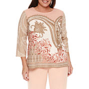 Alfred Dunner Just Peachy 3/4 Sleeve Crew Neck T-Shirt-Plus