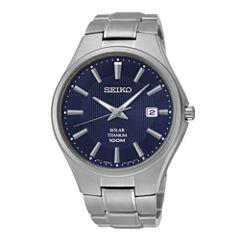 Seiko® Mens Silver-Tone Titanium Solar Watch SNE381