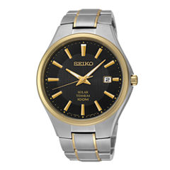 Seiko® Mens Two-Tone Titanium Solar Watch SNE382