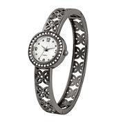 Womens Gunmetal Flower Bangle Watch