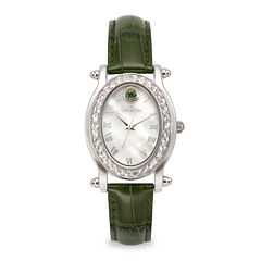 Croton Womens May Birthstone Crystal-Accent Green Leather Strap Watch