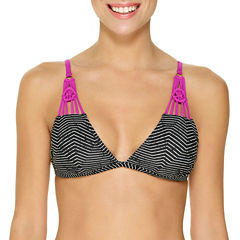 Ambrielle Geo Linear Triangle Swimsuit Top