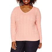 St. John`s Bay Long Sleeve V Neck Pullover Sweater-Plus