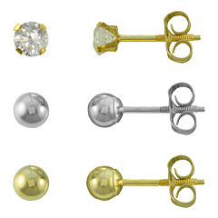 14K Gold Ball 3-Pair Stud Earrings