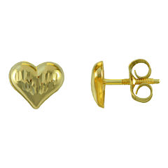 Girls 14K Gold Heart Stud Earrings