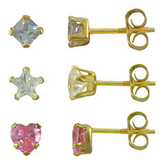 Girls 14K Gold Multicolor Cubic Zirconia 3-pr. Earring Set