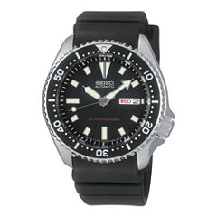 Seiko Dive Mens Black Strap Watch-Skx173