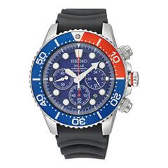 Seiko Mens Black Strap Watch-Ssc031