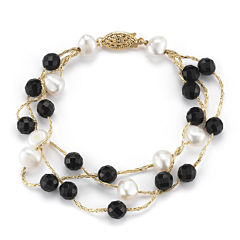 Cultured Freshwater Pearl and Dyed Onyx 3-Strand Bracelet